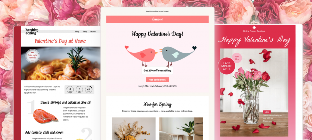 Valentine's Day email templates in mail designer 365