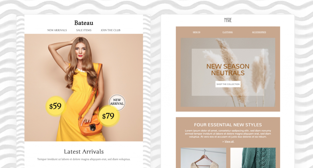 fashion email templates in mail designer 365