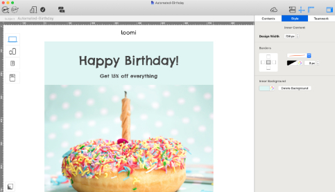 automated birthday email created in mail designer 365