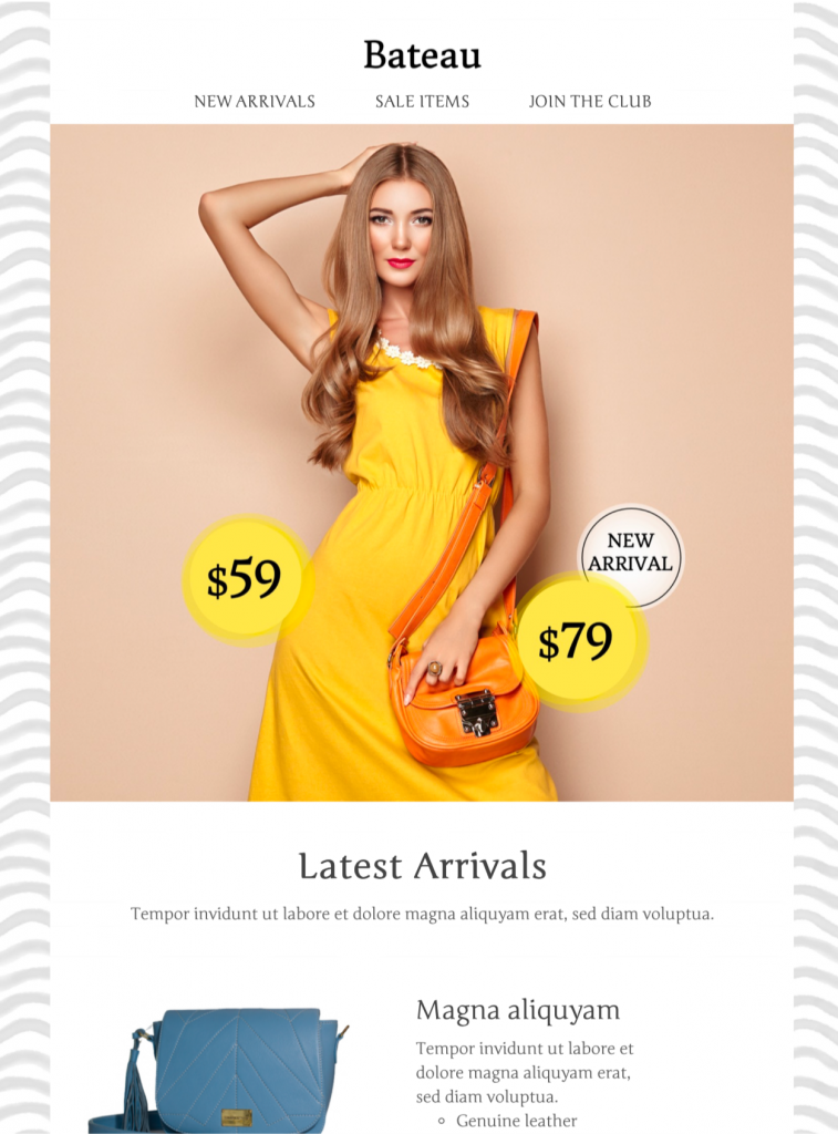 html email template for a fashion promotion