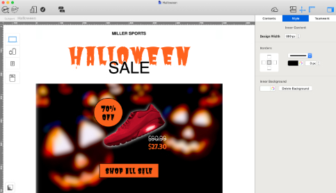 seasonal email created in mail designer 365