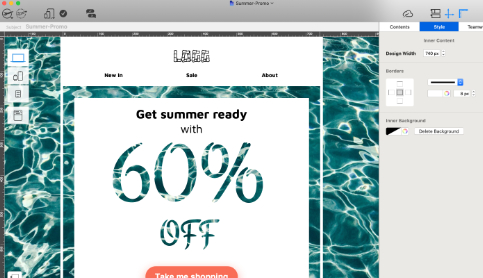 promotional email created in mail designer 365