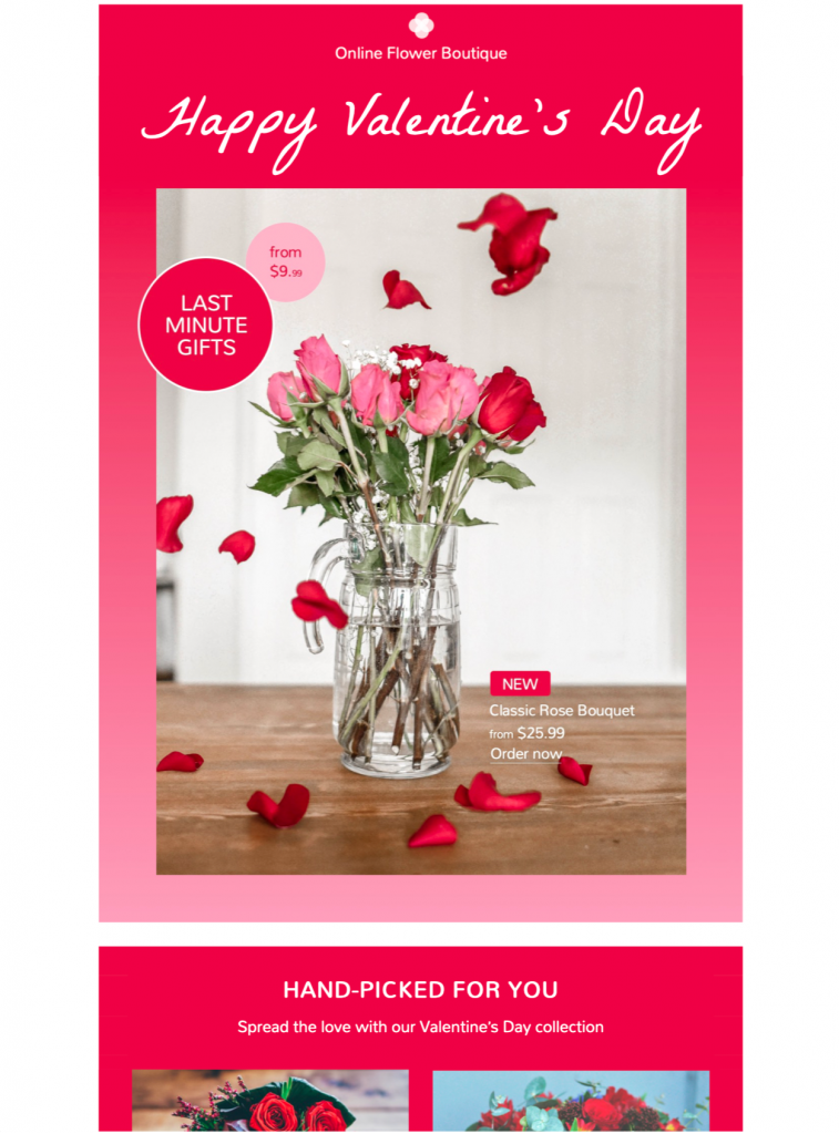 html email template for a Valentine's Day sale
