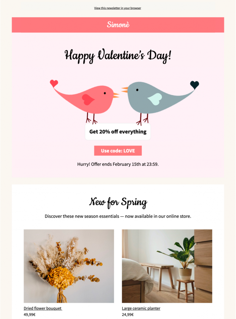 html email template for Valentine's Day