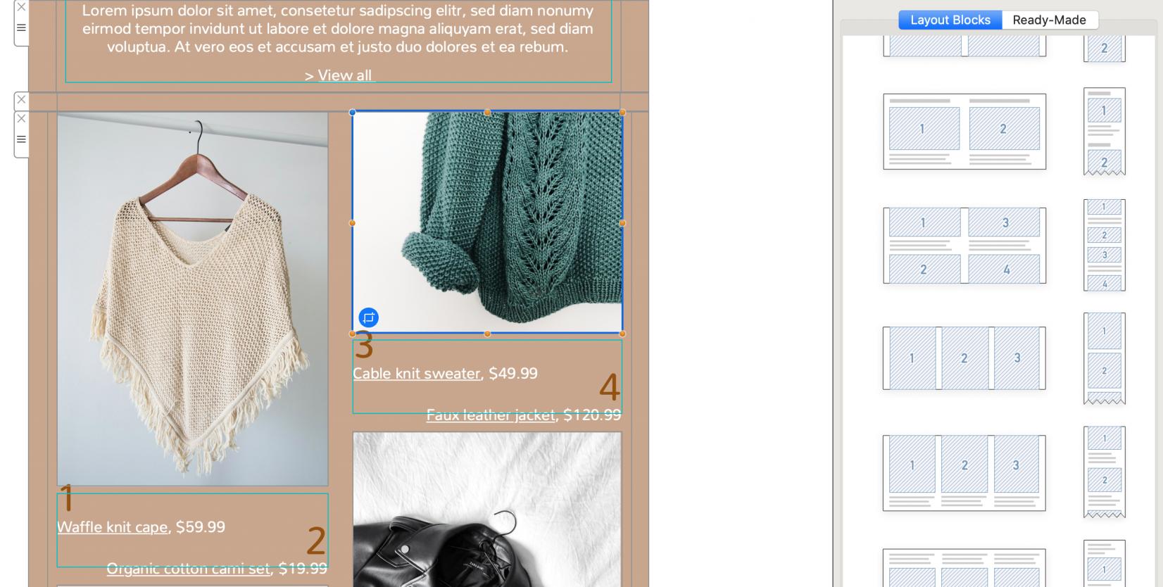 sales layout in mail designer 365