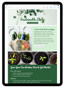 Sustainability blog email template