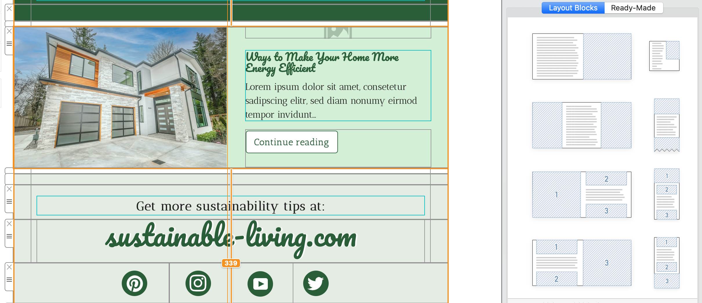 layout options for blog newsletters - in mail designer 365