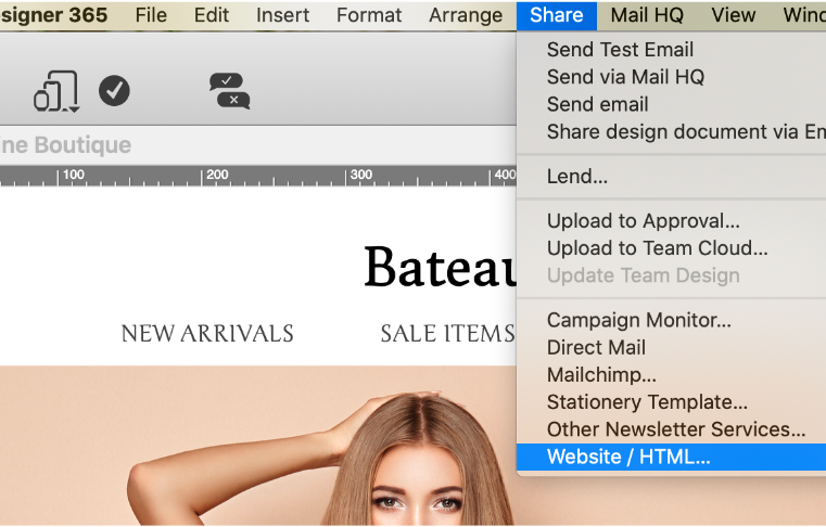 exporting a mail designer 365 email as html