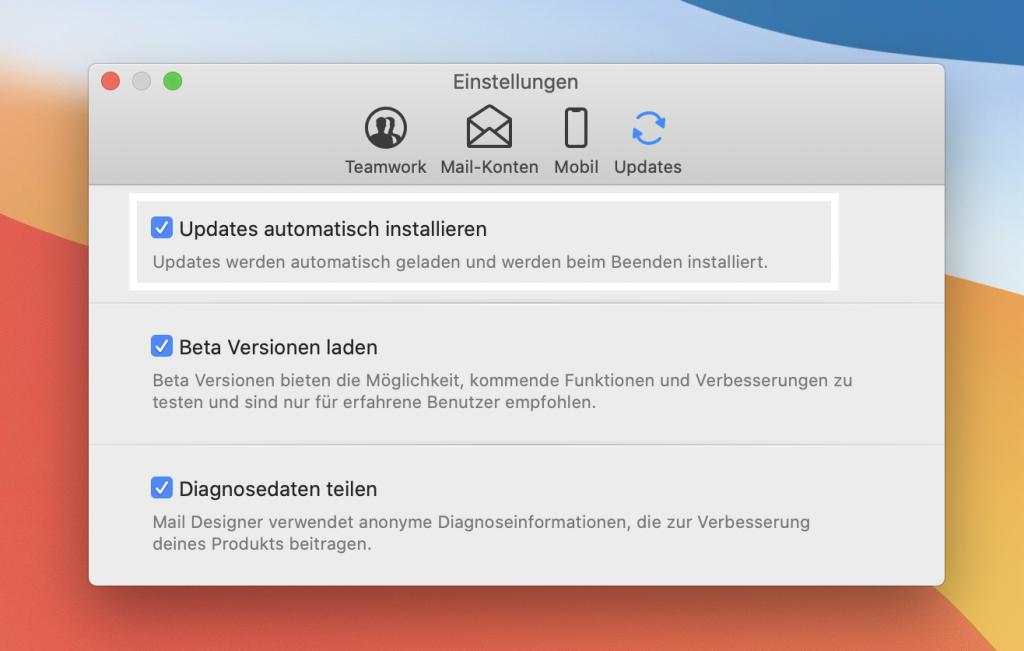 Aktiviere automatische Updates, um schnelleren Zugriff auf neue Mail Designer 365 Versionen zu bekommen.