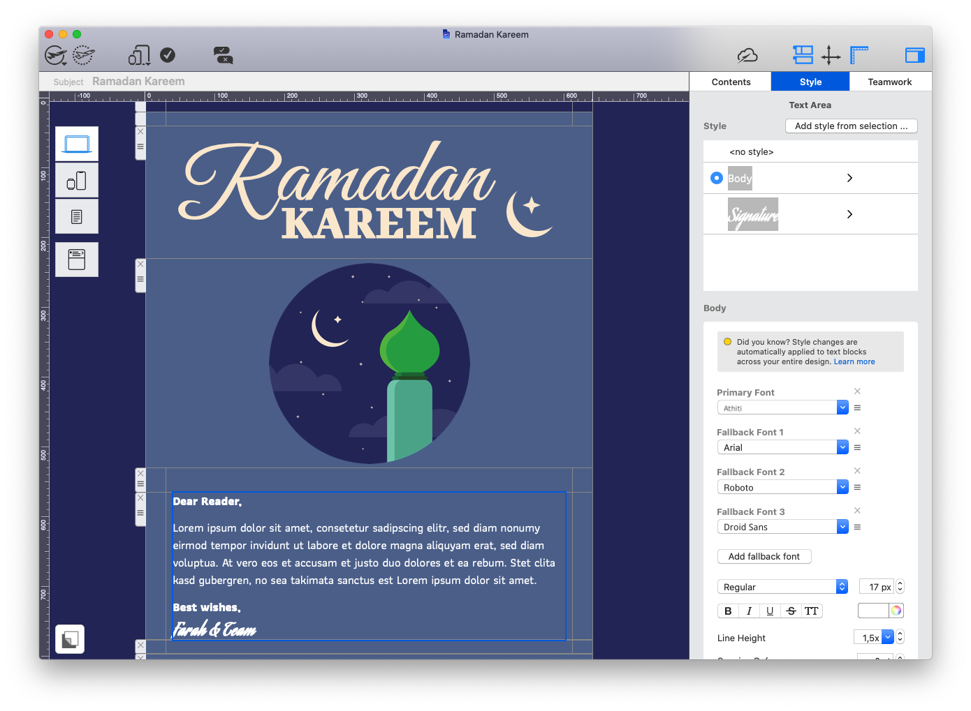 Ramadan email greeting created in Mail Designer 365.