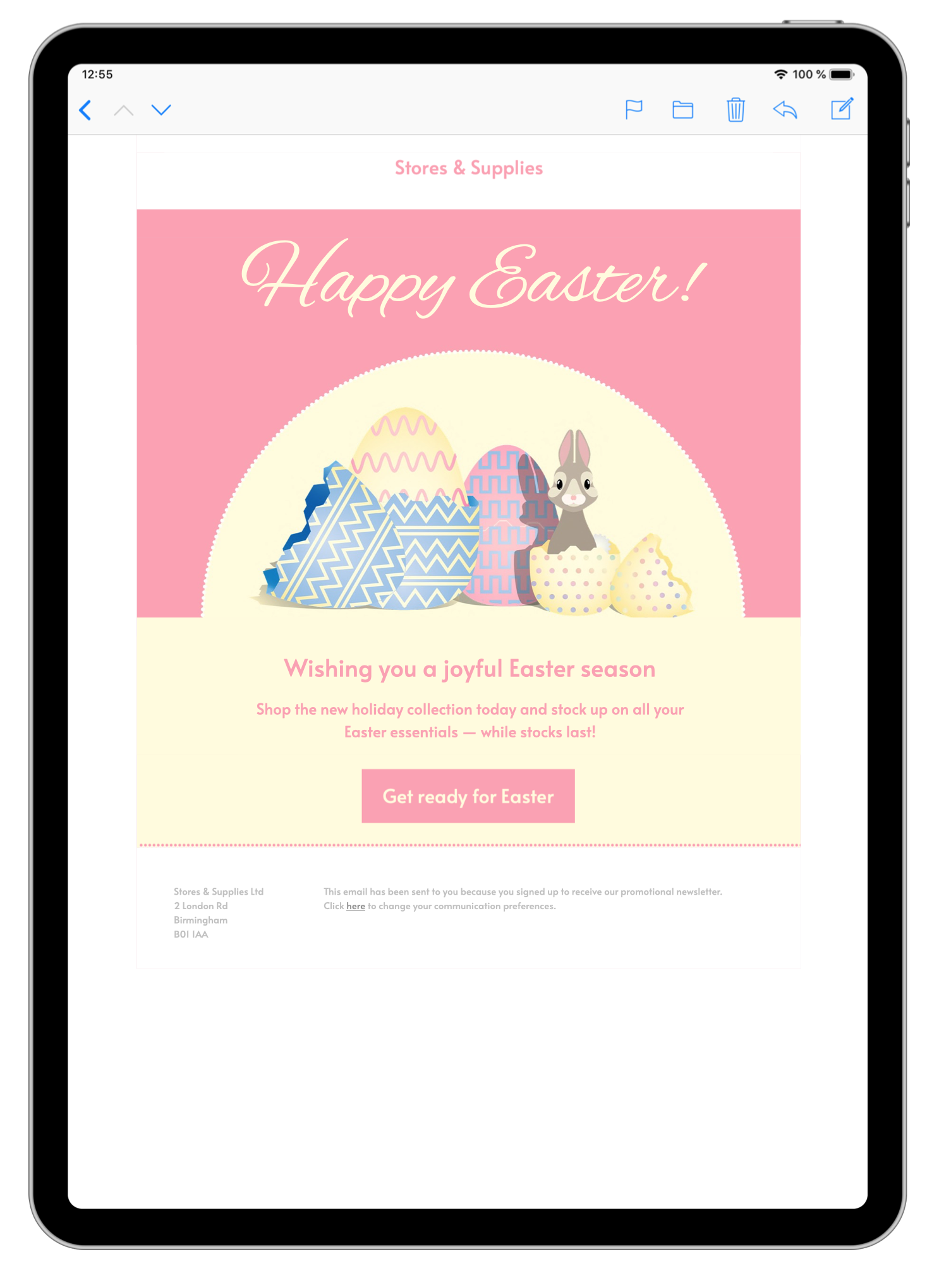 html email template for easter email campaigns