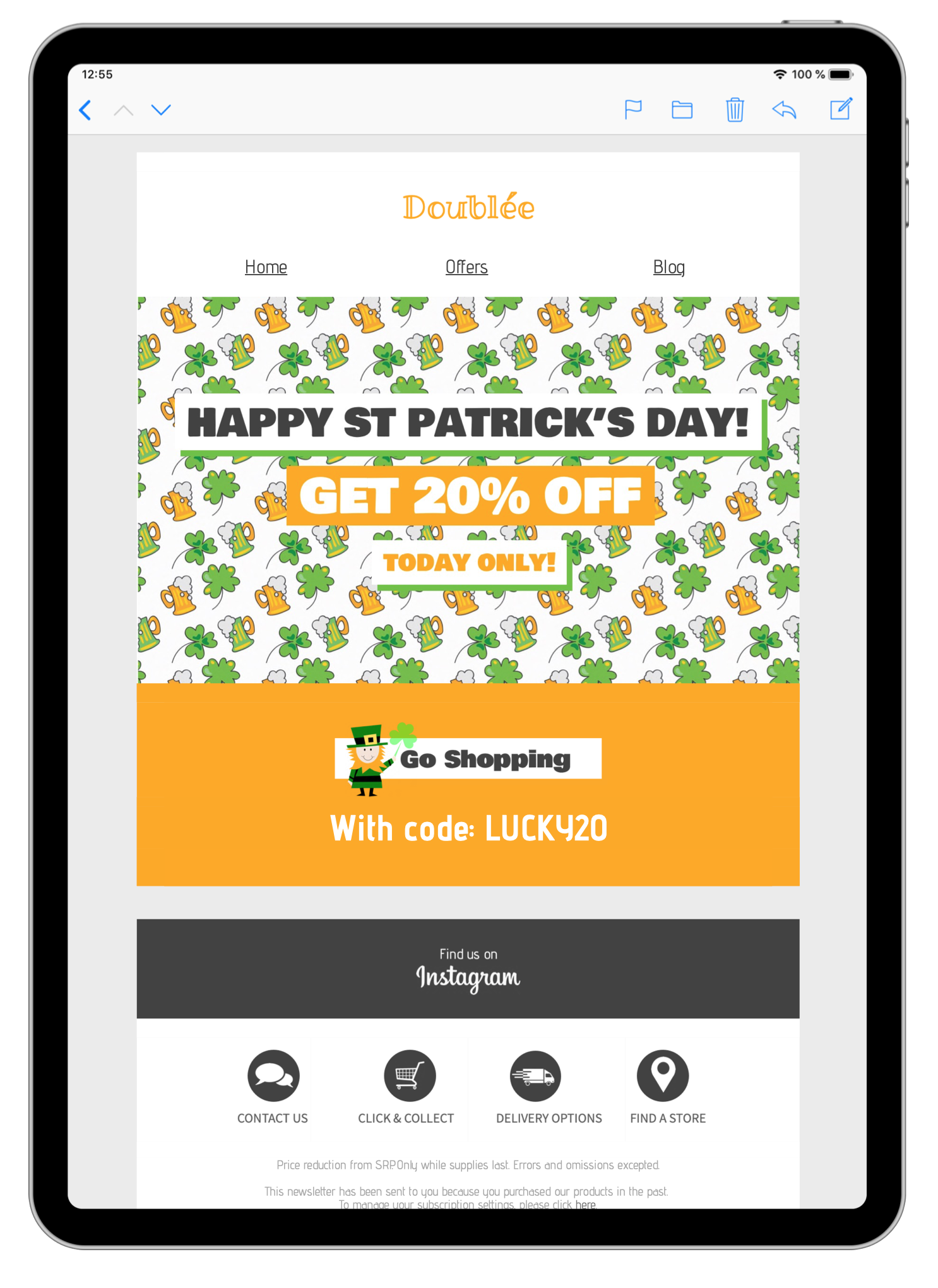 html email template for st Patricks day