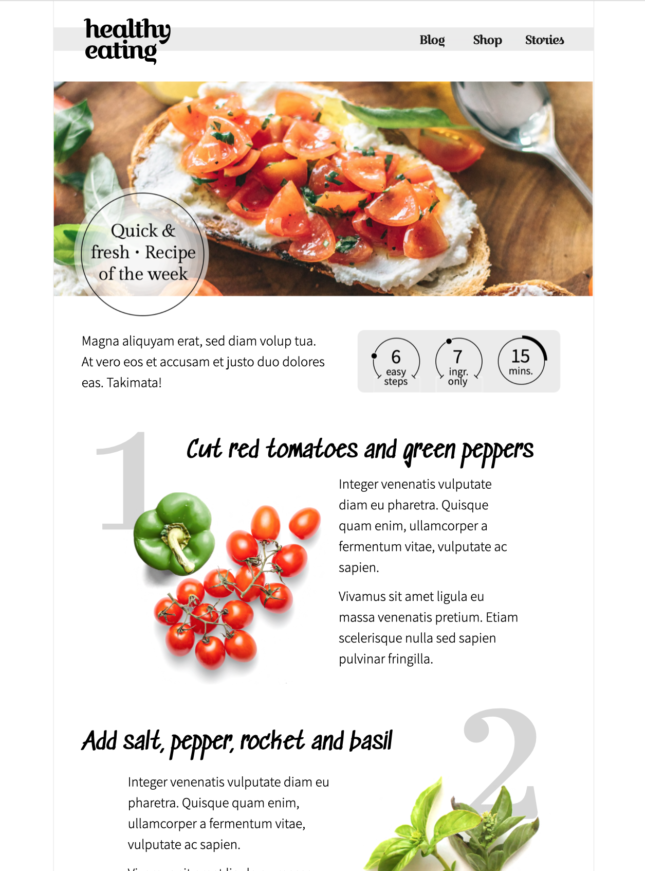 html email template for food blogs