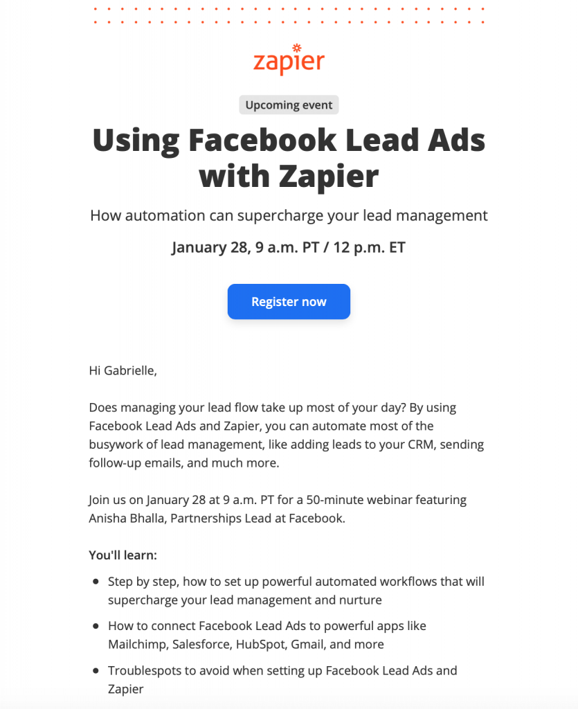 webinar promotion by Zapier
