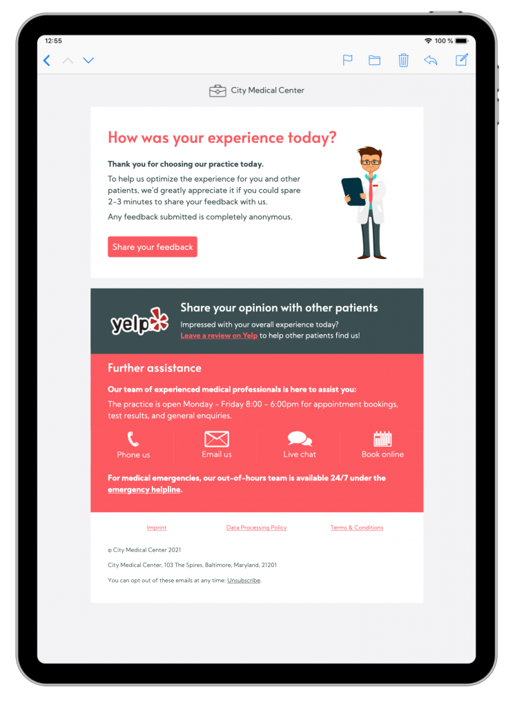 feedback email template in mail designer 365