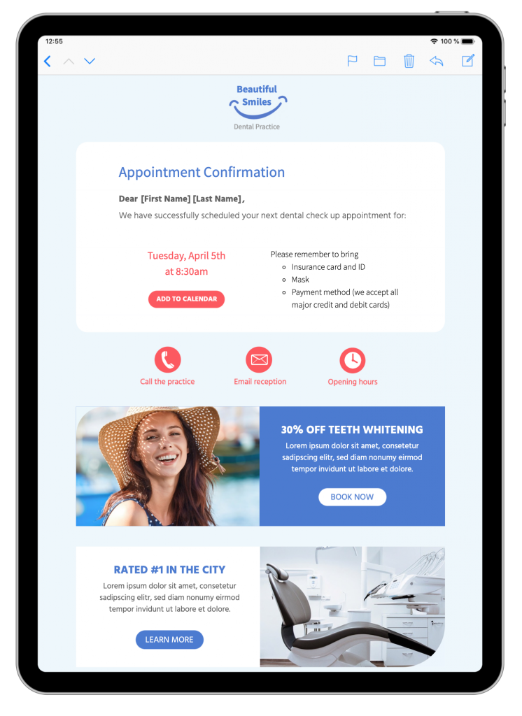 appointment booking email template in mail designer 365