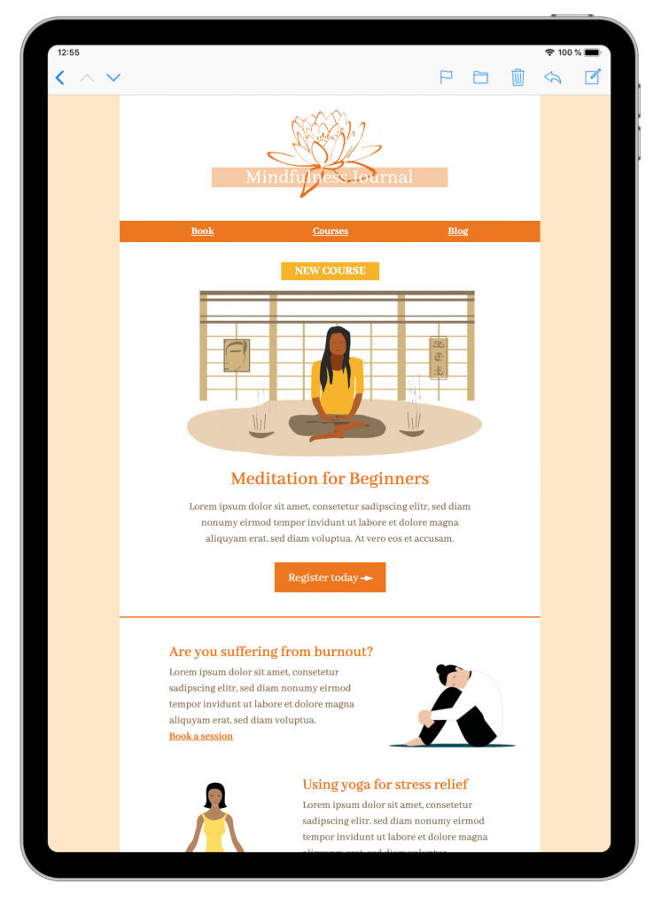 Mindfulness tips html email template