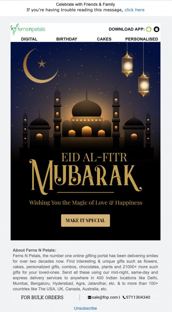 Eid Mubarak email template by ferns n petals