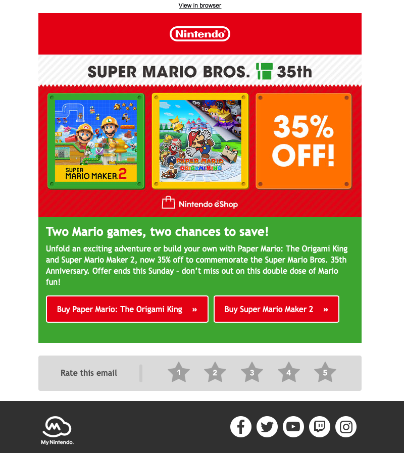 email promotion by Nintendo