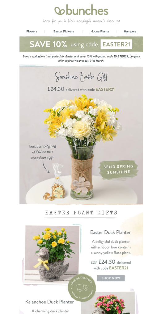easter email campaign by Bunches