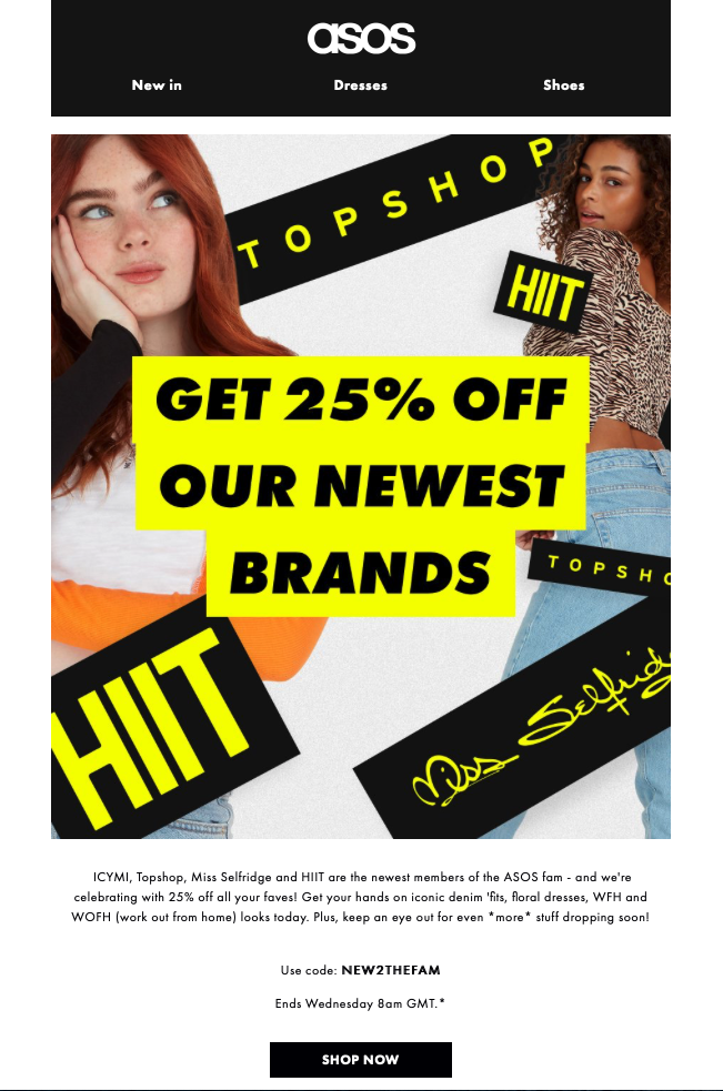 email promotion by ASOS