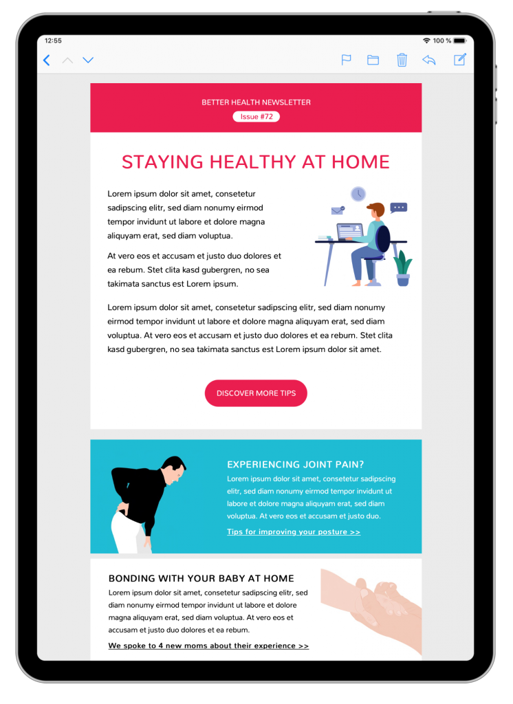 healthcare tips html email template in mail designer 365