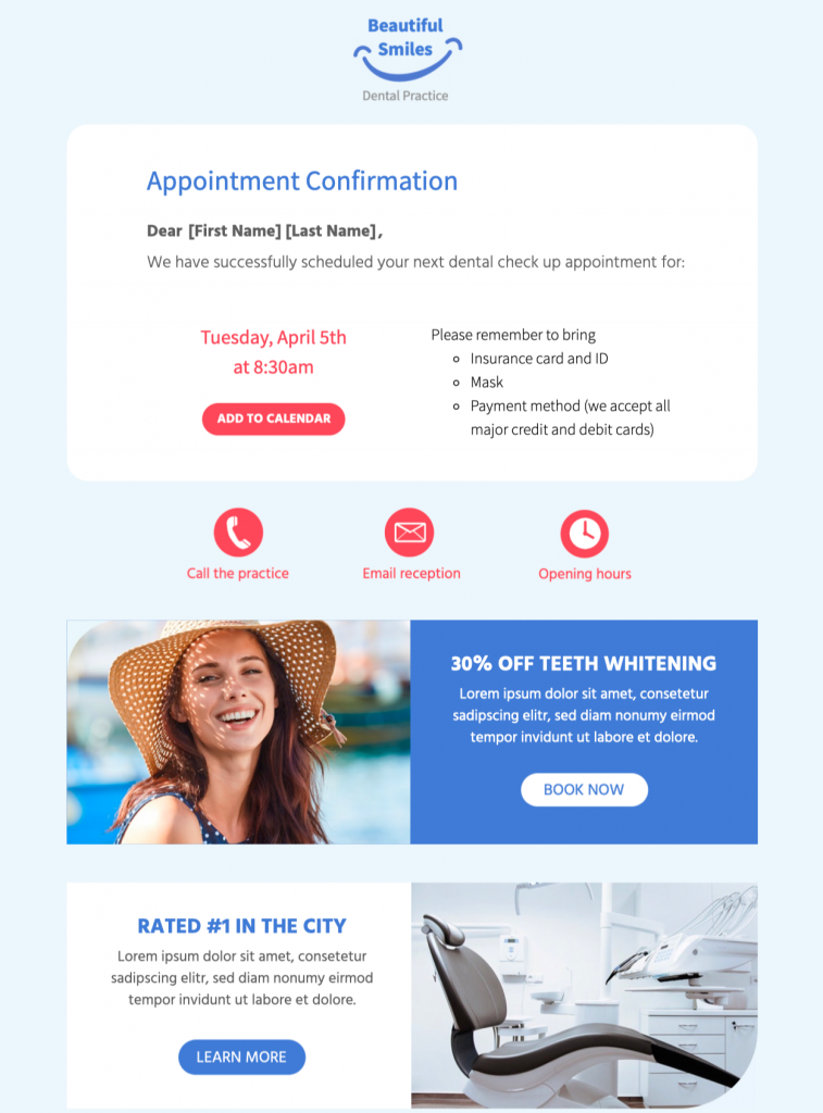 html email template for appointment confirmation