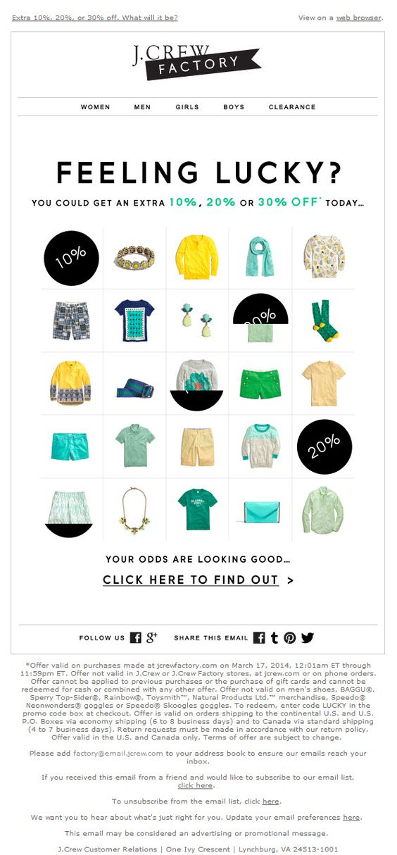 st patrick's day email campaign