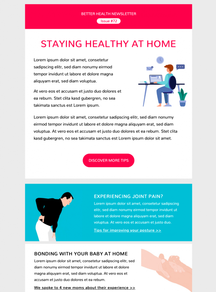 healthcare tips newsletter email template in Mail Designer 365