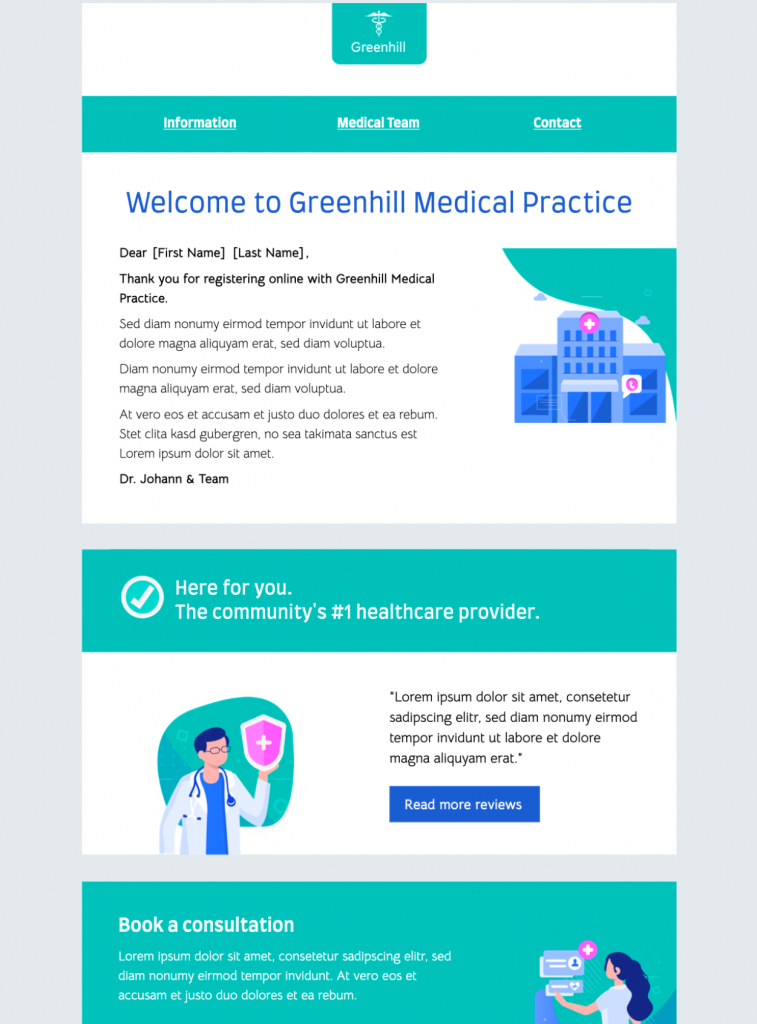 mail designer 365 html email template for healthcare newsletters
