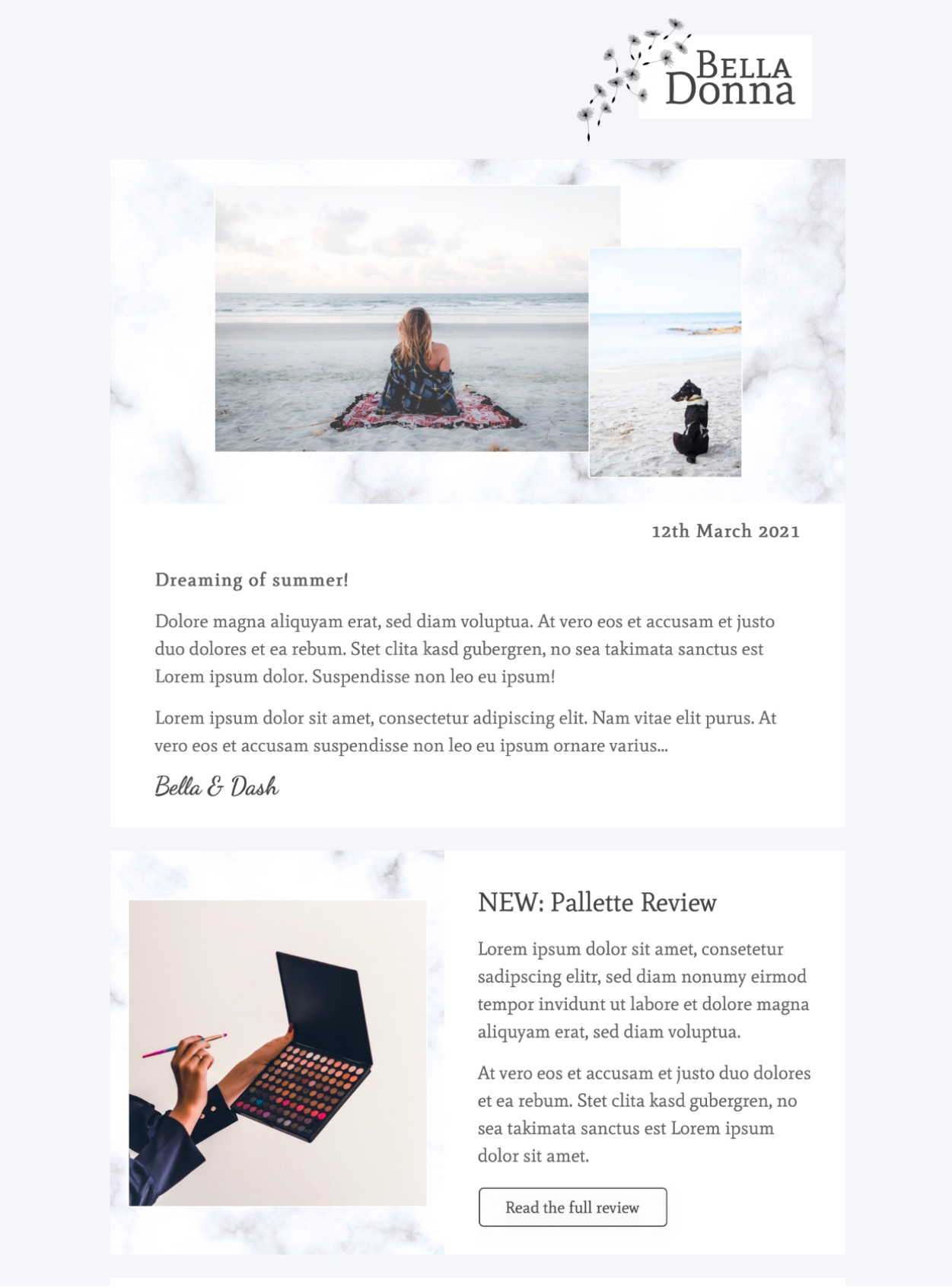 html email template for lifestyle bloggers and influencers