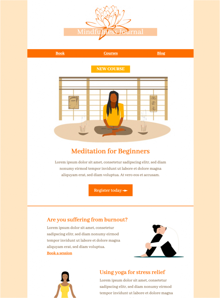 html email newsletter for mindfulness and mental health tips available in Mail Designer 365