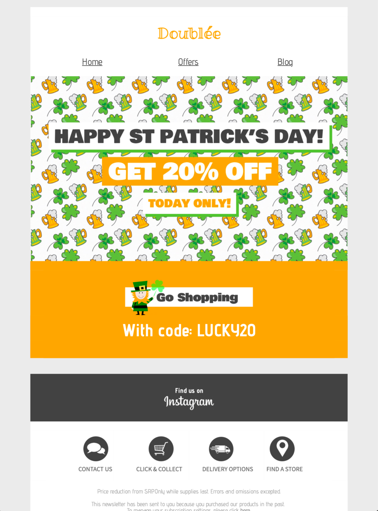 html email campaign for st Patrick's day