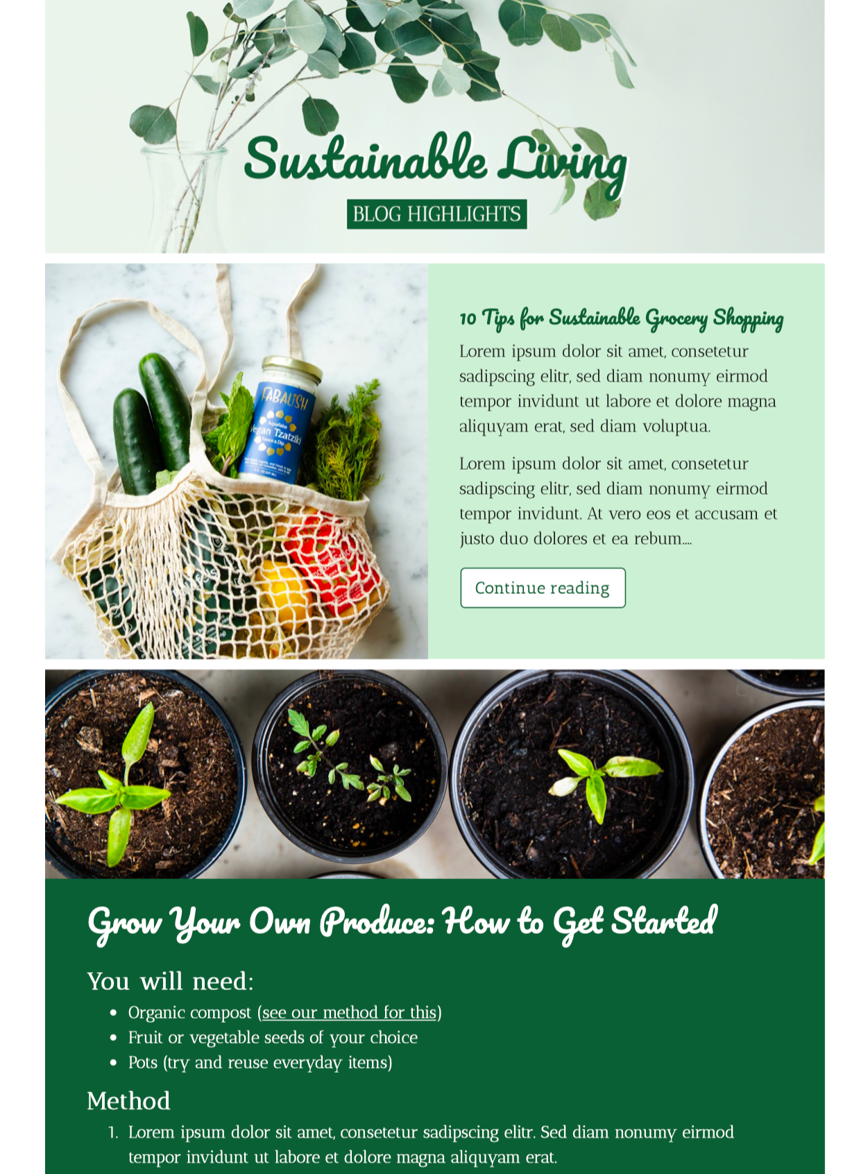 html email template for sustainability bloggers