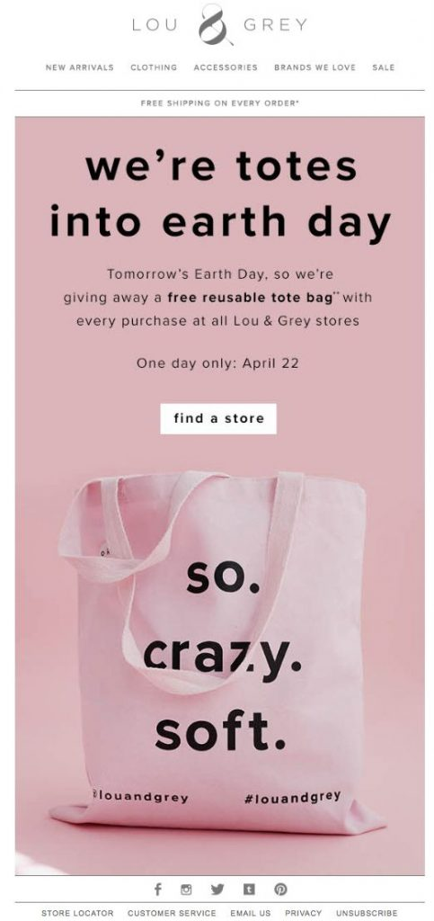 Earth Day email by Lou & Grey