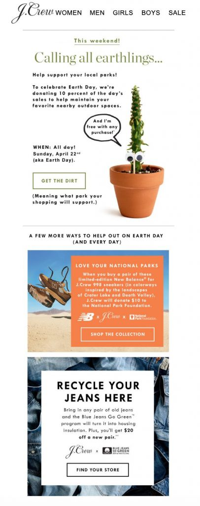 earth day email campaign by j crew