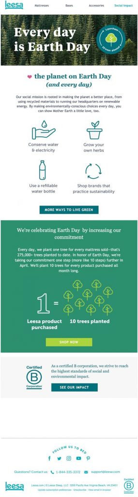 Earth Day email promotion by Leesa