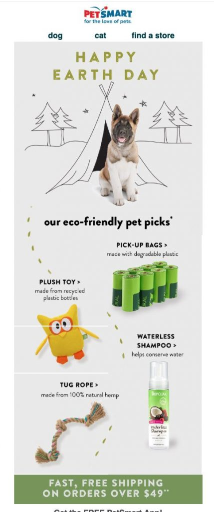 email campaign for Earth Day by Pet Smart