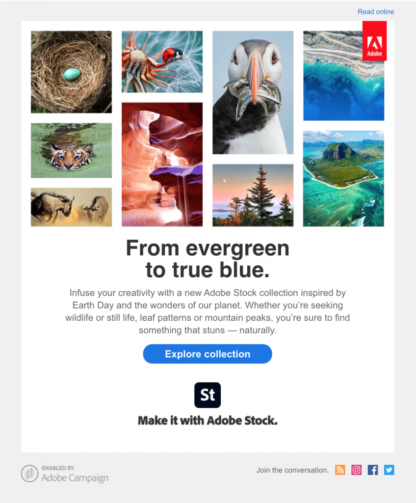 Earth Day email campaign by Adobe