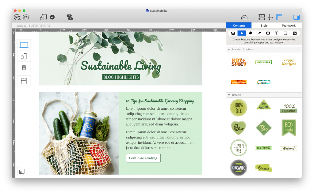 mail designer 365 email template for sustainability tips