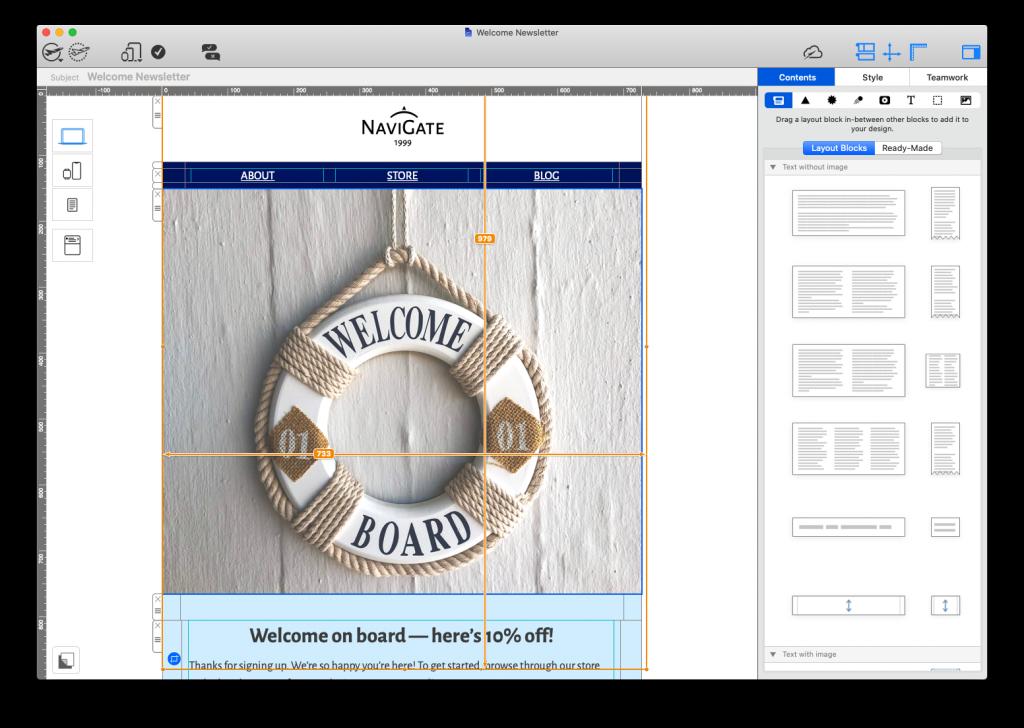 Mail Designer 365's WYSIWYG editor