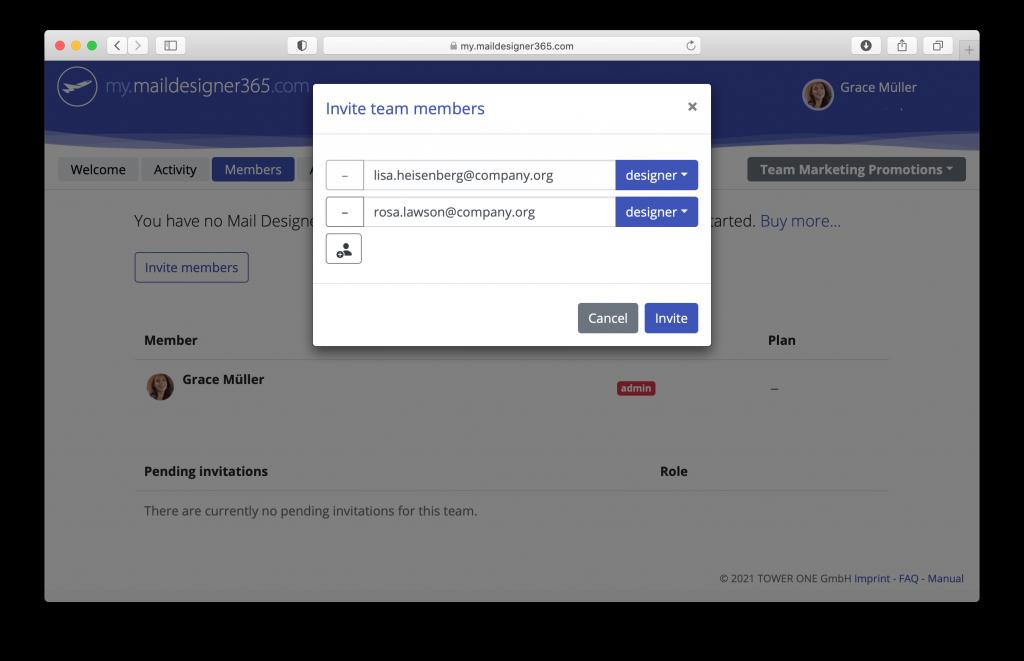 my.maildesigner365 web based team management portal