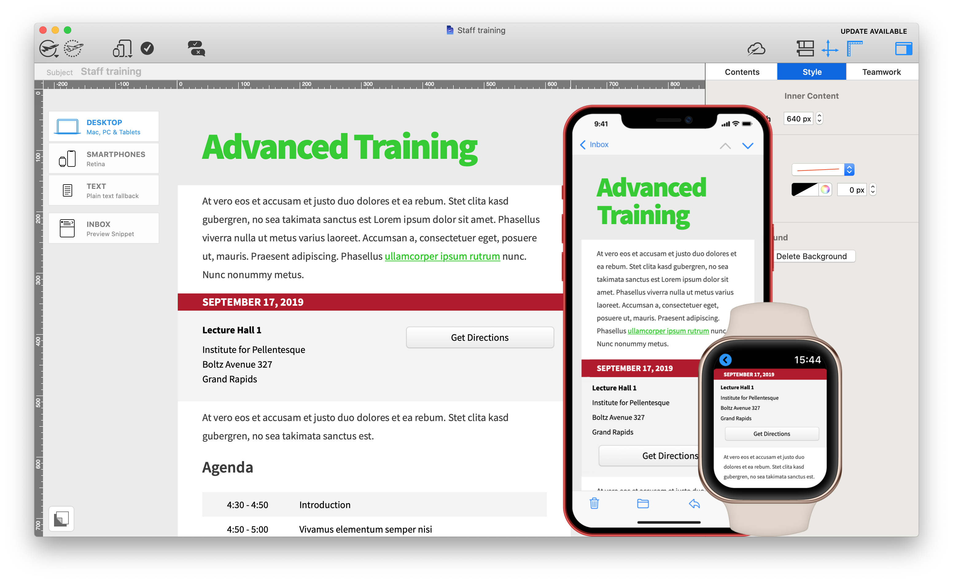 staff training email template - available in mail designer 365