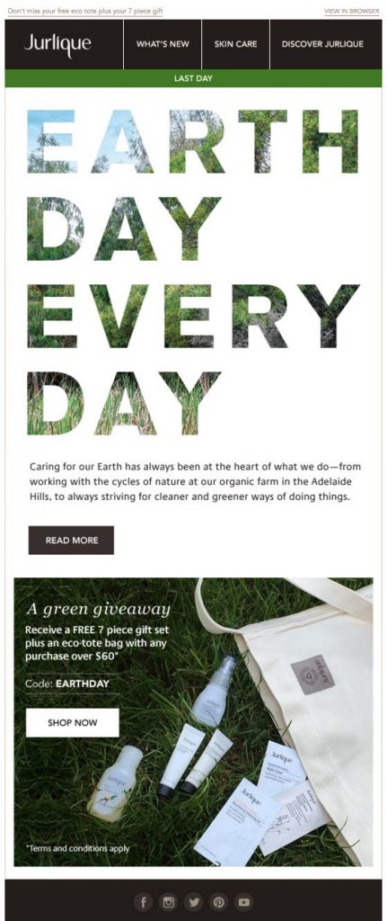 Earth Day email campaign by Jurlique