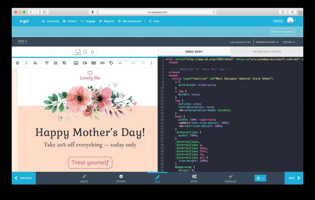 using your mail designer 365 template in e-goi