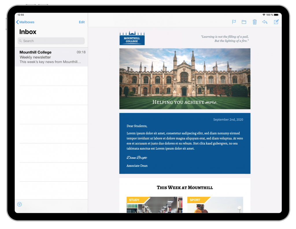 educational newsletter with institution branding