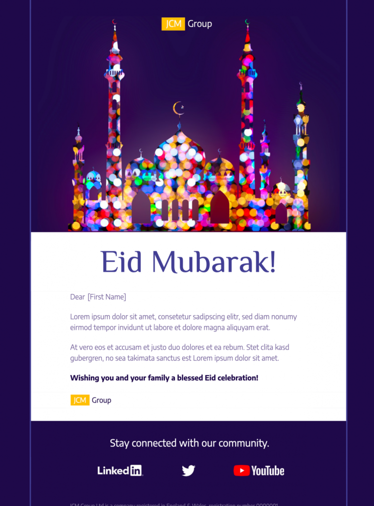 html email template for Eid - exclusively available in mail designer 365