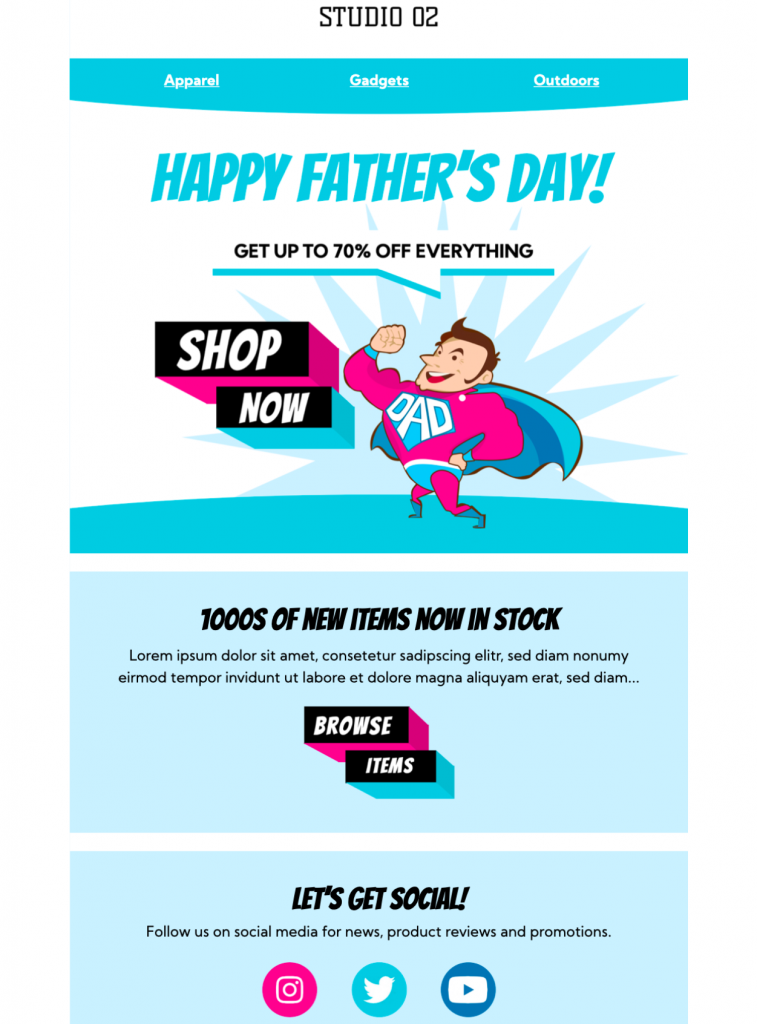 happy fathers day email template in mail designer 365