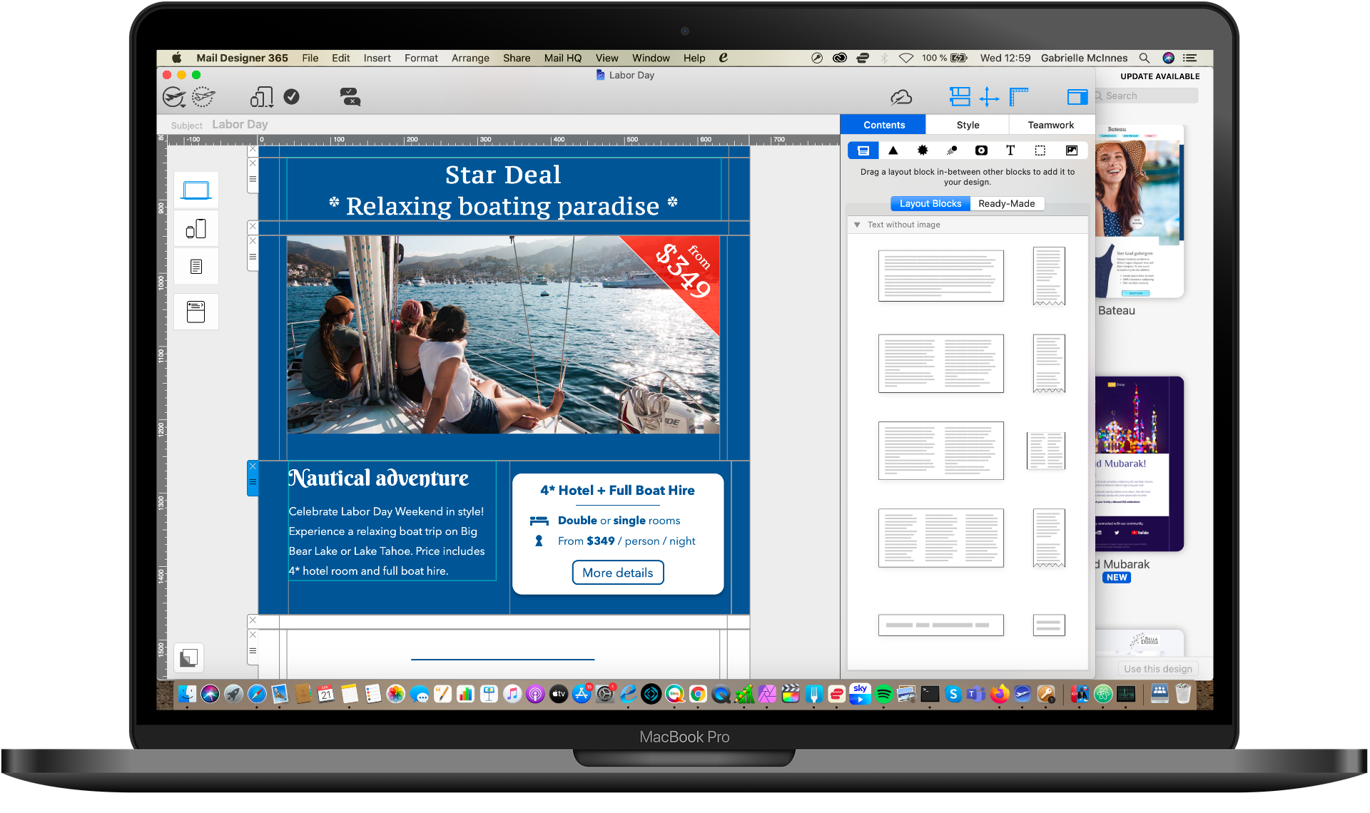 flexible email layout options for hotels in mail designer 365
