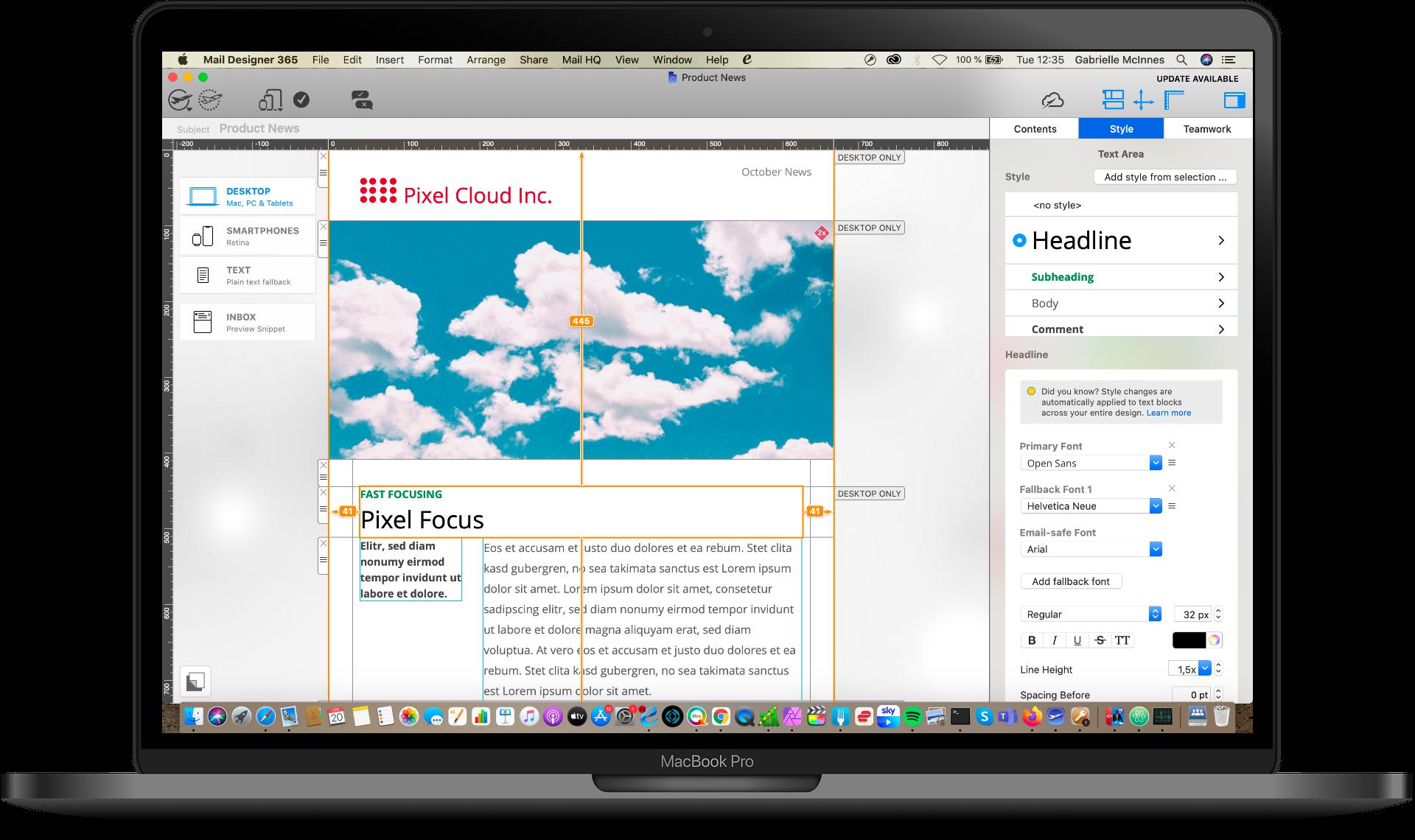 product newsletter email design in mail designer 365